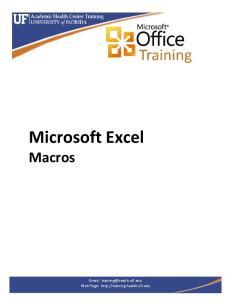 Microsoft Excel Macros