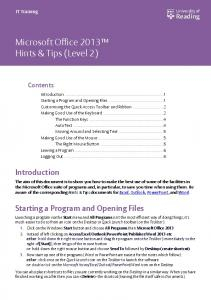 Microsoft Office 2013 Hints & Tips (Level 2)