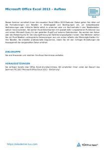Microsoft Office Excel 2013 Aufbau