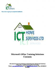 Microsoft Office Training Solutions Contents