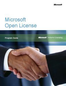 Microsoft Open License. Program Guide