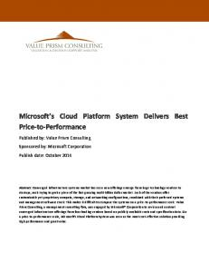 Microsoft s Cloud Platform System Delivers Best Price-to-Performance