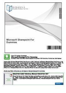 Microsoft Sharepoint For Dummies