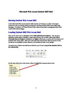 Microsoft Web Access Outlook 2003 Mail