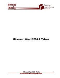 Microsoft Word 2000 & Tables