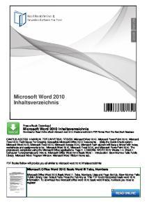 Microsoft Word 2010 Inhaltsverzeichnis