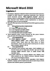 Microsoft Word 2010 Uygulama 1