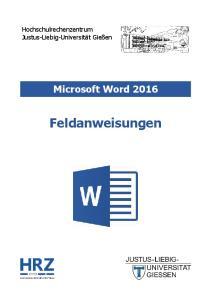 Microsoft Word 2016 Feldanweisungen