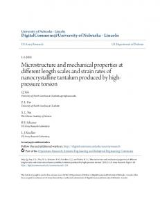 Microstructure and mechanical properties at different length scales and strain rates of nanocrystalline tantalum produced by highpressure