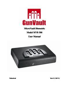 MicroVault Biometric Model MVB 500 User Manual