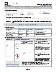 MicroVue Creatinine Assay Safety Data Sheet Revision Date: May 15, Section 1 Product and Company Identification
