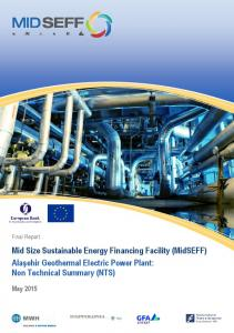 Mid Size Sustainable Energy Financing Facility (MidSEFF) Alaşehir Geothermal Electric Power Plant: Non Technical Summary (NTS)