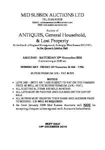MID SUSSEX AUCTIONS LTD TEL: WEB: mid-sussex-auctions.com