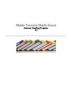 Middle Township Middle School Summer Reading Program 2015