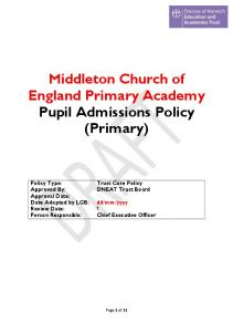 Middleton Church of England Primary Academy Pupil Admissions Policy (Primary)