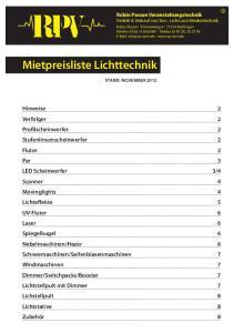 Mietpreisliste Lichttechnik