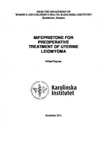 MIFEPRISTONE FOR PREOPERATIVE TREATMENT OF UTERINE LEIOMYOMA