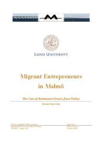 Migrant Entrepreneurs in Malmö
