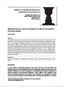 Migrant s houses as places and objects of cultural consumption and status display