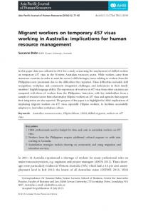 Migrant workers on temporary 457 visas working in Australia: implications for human resource management