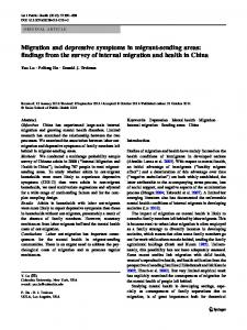 Migration and depressive symptoms in migrant-sending areas: findings from the survey of internal migration and health in China