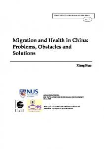 Migration and Health in China: Problems, Obstacles and Solutions