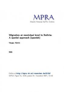 Migration at municipal level in Bolivia: A spatial approach (spanish)