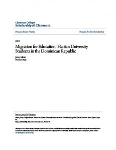 Migration for Education: Haitian University Students in the Dominican Republic