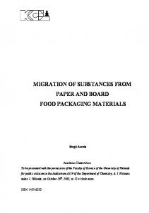 MIGRATION OF SUBSTANCES FROM PAPER AND BOARD FOOD PACKAGING MATERIALS