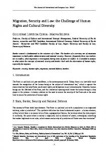 Migration, Security and Law: the Challenge of Human Rights and Cultural Diversity