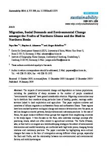 Migration, Social Demands and Environmental Change amongst the Frafra of Northern Ghana and the Biali in Northern Benin