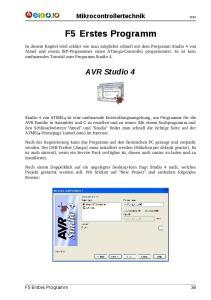 Mikrocontrollertechnik. F5 Erstes Programm. AVR Studio 4