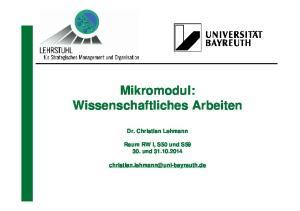 Mikromodul: Wissenschaftliches Arbeiten