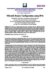 Mikrotik Router Configuration using IPv6