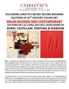 MILAN MODERN AND CONTEMPORARY AUCTIONS ON 2 & 3 APRIL 2014 WILL OFFER WORKS BY