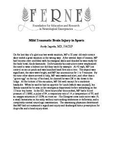 Mild Traumatic Brain Injury in Sports