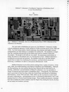 Mildred T. Johnstone's Needlepoint Tapestries of Bethlehem Steel: A Less Travelled Road. By Ruta T. Saliklis