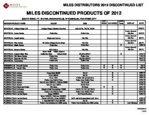 MILES DISCONTINUED PRODUCTS OF 2012