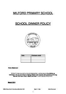 MILFORD PRIMARY SCHOOL SCHOOL DINNER POLICY