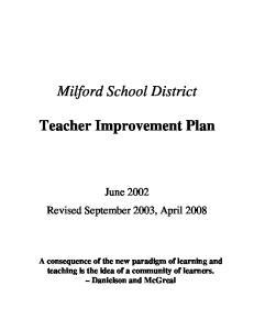 Milford School District. Teacher Improvement Plan