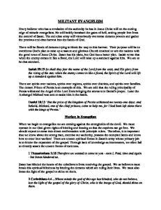 MILITANT EVANGELISM. Warfare In Evangelism