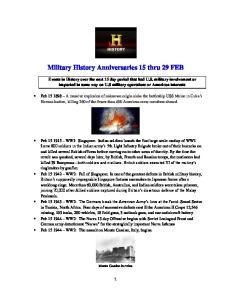 Military History Anniversaries 15 thru 29 FEB