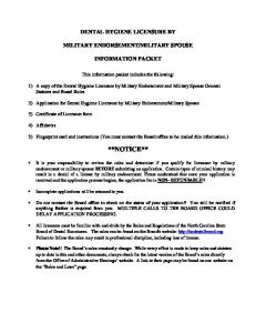 MILITARY SPOUSE INFORMATION PACKET. This information packet includes the following: