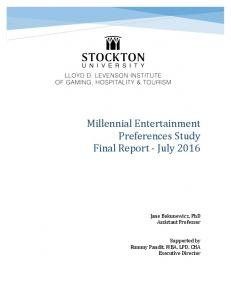 Millennial!Entertainment! Preferences!Study! Final!Report!8!July!2016!!
