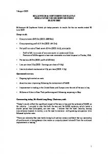 MILLENNIUM & COPTHORNE HOTELS PLC RESULTS FOR THE SIX MONTHS ENDED 30 JUNE 2003
