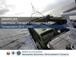 MIMAROPA Intermodal Transport Development Plan. Transportation