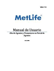 MiMet FFVV. Manual de Usuario Alta de Agentes y Promotores en Portal de Agentes