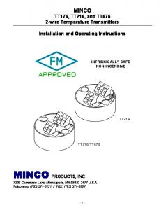 MINCO PRODUCTS, INC. MINCO. MINCO TT176, TT216, and TT676 2-wire Temperature Transmitters. Installation and Operating Instructions