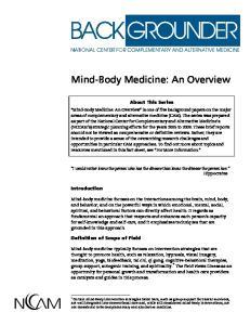 Mind-Body Medicine: An Overview