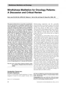 Mindfulness Meditation for Oncology Patients: A Discussion and Critical Review